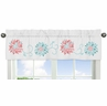 Turquoise and Coral Emma Collection Window Valance