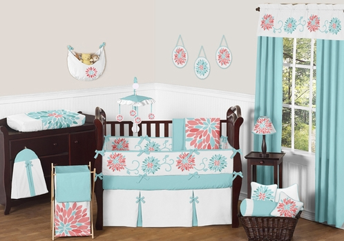 Turquoise and Coral Emma Baby Bedding - 9pc Crib Set by Sweet Jojo Designs - Click to enlarge