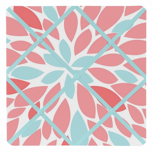 Turquoise and Coral Emma Fabric Memory/Memo Photo Bulletin Board - Click to enlarge
