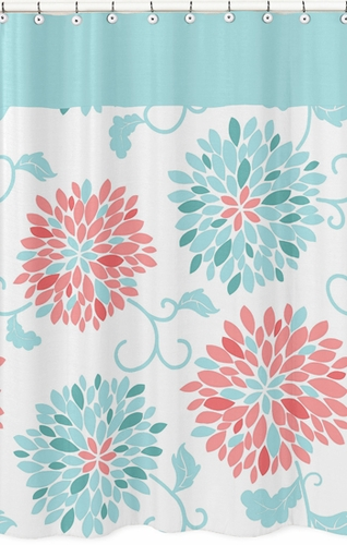 Turquoise and Coral Emma Kids Bathroom Fabric Bath Shower Curtain - Click to enlarge