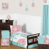 Turquoise and Coral Emma Toddler Bedding - 5pc Set by Sweet Jojo Designs