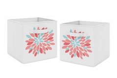 Turquoise and Coral Floral Foldable Fabric Storage Cube Bins Boxes Organizer Toys Kids Baby Childrens for Emma Collection by Sweet Jojo Designs - Set of 2