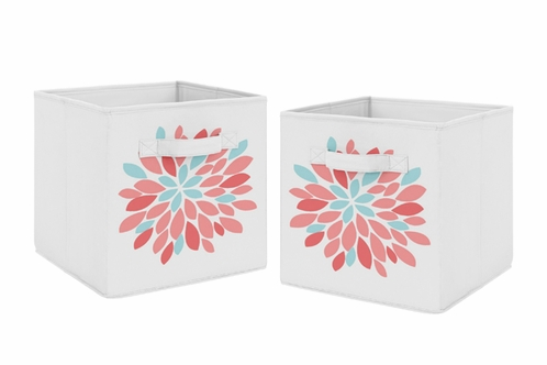 Turquoise and Coral Floral Foldable Fabric Storage Cube Bins Boxes Organizer Toys Kids Baby Childrens for Emma Collection by Sweet Jojo Designs - Set of 2 - Click to enlarge