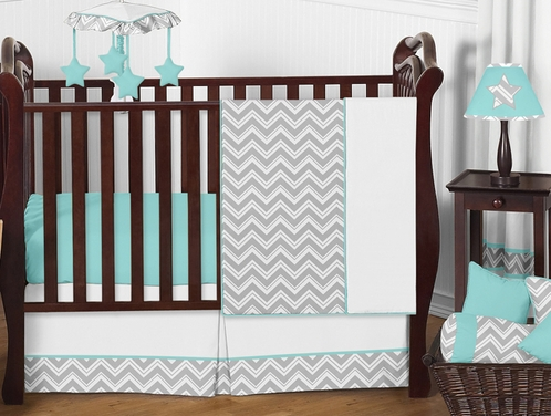 Turquoise and Gray Chevron Zig Zag Baby Bedding - 11pc Crib Set by Sweet Jojo Designs - Click to enlarge