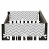Turquoise and Gray Chevron Zig Zag Baby Crib Side Rail Guard Covers by Sweet Jojo Designs - Set of 2