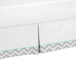 Turquoise and Gray Chevron Zig Zag Bed Skirt for Toddler Bedding Sets by Sweet Jojo Designs