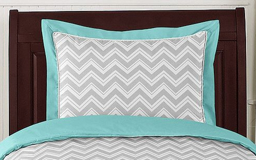 Turquoise and Gray Chevron Zig Zag Pillow Sham by Sweet Jojo Designs - Click to enlarge