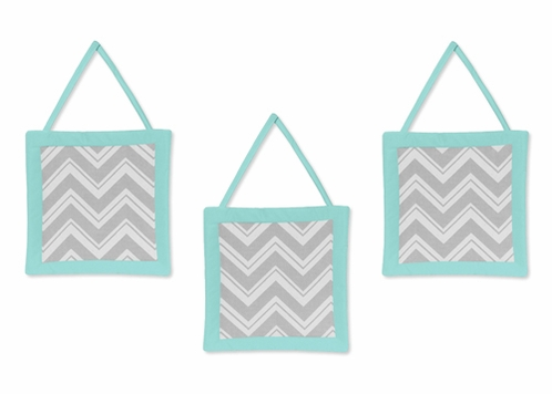 Turquoise and Gray Chevron Zig Zag Wall Hanging Accessories by Sweet Jojo Designs - Click to enlarge