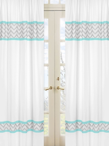 Turquoise and Gray Chevron Zig Zag Window Treatment Panels by Sweet Jojo Designs - Set of 2 - Click to enlarge