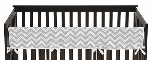 Gray and Yellow Zig Zag Chevron Baby Crib Long Rail Guard Cover by Sweet Jojo Designs - Click to enlarge