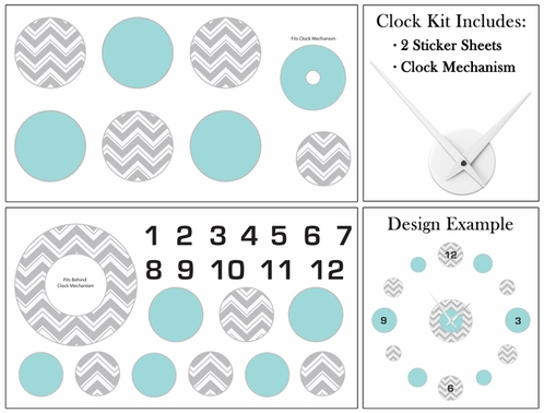 Turquoise and Gray Zig Zag Kids and Baby DIY Clock with Stickers by Sweet Jojo Designs - Click to enlarge