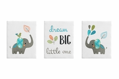 Turquoise and Grey Jungle Wall Art Room Decor Hangings for Baby, Nursery, Kids and Childrens Mod Elephant Collection by Sweet Jojo Designs - Set of 3