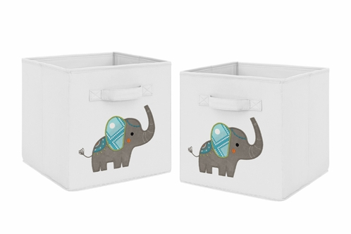 Turquoise and Grey Mod Elephant Foldable Fabric Storage Cube Bins Boxes Organizer Toys Kids Baby Childrens for Collection by Sweet Jojo Designs - Set of 2 - Click to enlarge