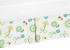 Turquoise and Lime Floral Crib Bed Skirt for Layla Baby Bedding Sets by Sweet Jojo Designs