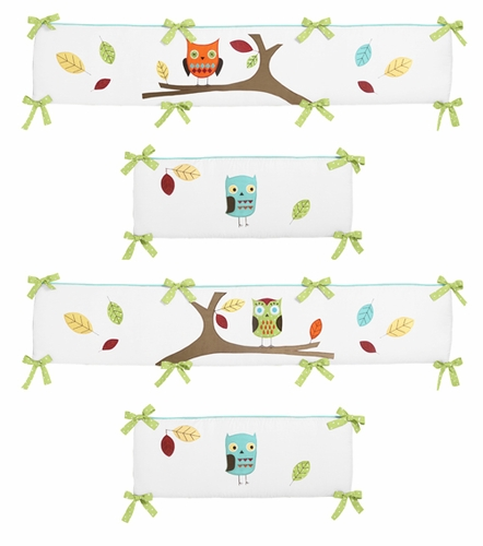 Turquoise and Lime Hooty Collection Crib Bumper by Sweet Jojo Designs - Click to enlarge