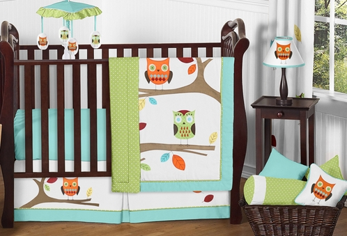 Turquoise And Lime Hooty Owl Baby Bedding 11pc Crib Set Only 59 12