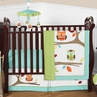 Turquoise and Lime Hooty Owl Baby Bedding - 4pc Crib Set
