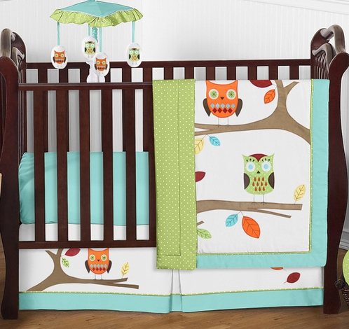Turquoise and Lime Hooty Owl Baby Bedding - 4pc Crib Set - Click to enlarge