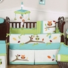 Turquoise and Lime Hooty Owl Baby Bedding - 9 pc Crib Set