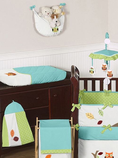 Turquoise And Lime Hooty Owl Baby Bedding 9 Pc Crib Set Only 73 95