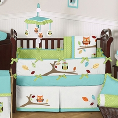 Turquoise And Lime Hooty Owl Baby Bedding 9 Pc Crib Set