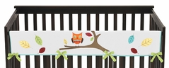 Turquoise and Lime Hooty Owl Baby Crib Long Rail Guard Cover by Sweet Jojo Designs