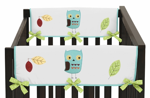 Turquoise and Lime Hooty Owl Baby Crib Side Rail Guard Covers by Sweet Jojo Designs - Set of 2 - Click to enlarge
