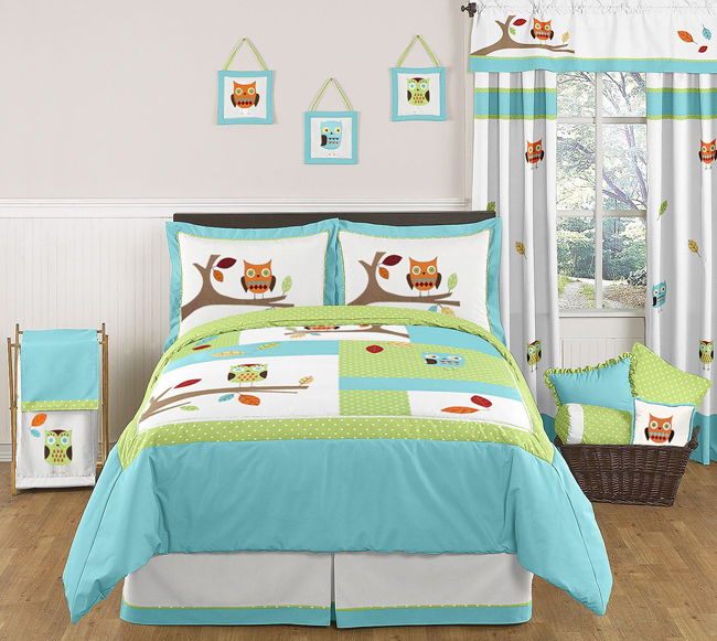 Turquoise And Lime Hooty Owl Childrens And Kids Bedding   3pc Full / Queen  Set By Sweet Jojo Designs Only $119.99
