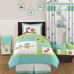 Turquoise and Lime Hooty Owl Childrens and Kids Bedding Set - 4 pc Twin Set