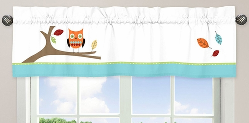 Turquoise and Lime Hooty Owl�Window Valance by Sweet Jojo Designs - Click to enlarge