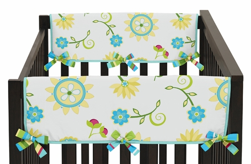 Turquoise and Lime Layla Baby Crib Side Rail Guard Covers by Sweet Jojo Designs - Set of 2 - Click to enlarge