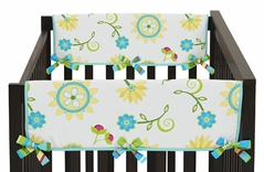 Turquoise and Lime Layla Baby Crib Side Rail Guard Covers by Sweet Jojo Designs - Set of 2