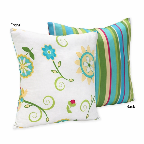 Turquoise and Lime Layla Decorative Accent Throw Pillow - Click to enlarge