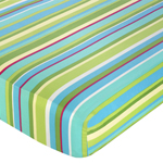 Turquoise and Lime Layla Fitted Crib Sheet for Baby/Toddler Bedding Sets - Designer Stripe