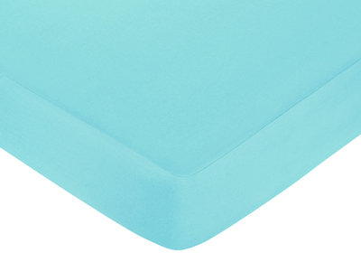 Turquoise and Lime Layla Fitted Crib Sheet for Baby/Toddler Bedding Sets - Turquoise Blue - Click to enlarge