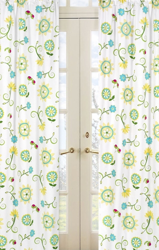 Turquoise and Lime Layla Floral Print Window Treatment Panels - Set of 2 - Click to enlarge