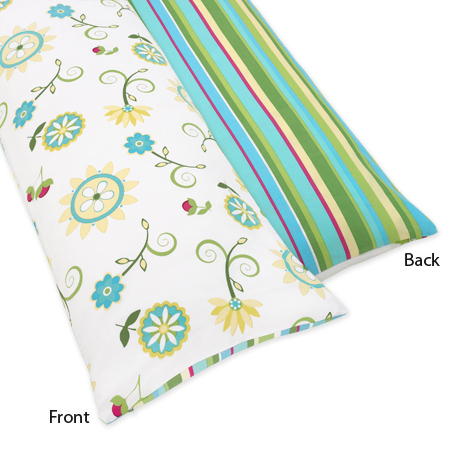 Turquoise and Lime Layla Full Length Double Zippered Body Pillow Case Cover - Click to enlarge