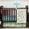 Turquoise and Lime Layla Girls Boutique Baby Bedding - 4pc Crib Set