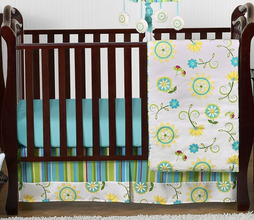 Turquoise and Lime Layla Girls Boutique Baby Bedding - 4pc Crib Set - Click to enlarge