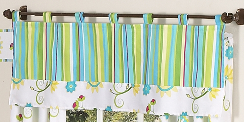 Turquoise and Lime Layla Girls Window Valance by Sweet Jojo Designs - Click to enlarge