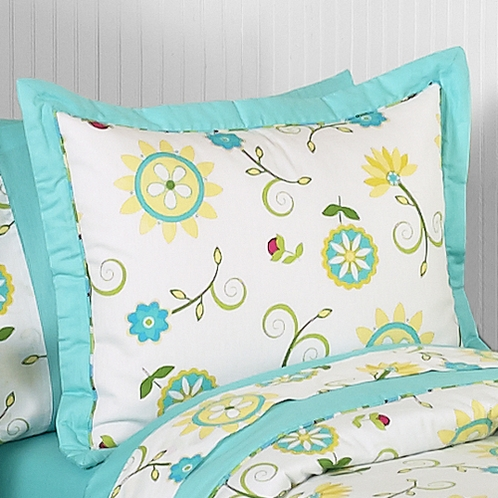Turquoise and Lime Layla Pillow Sham by Sweet Jojo Designs - Click to enlarge