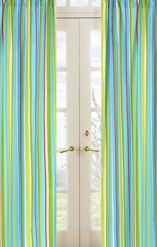 Turquoise and Lime Layla Stripe Window Treatment Panels - Set of 2 - Click to enlarge