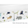 Turquoise and Navy Blue Safari Animal Baby Boy or Girl Pleated Crib Bed Skirt Dust Ruffle for Mod Jungle Collection by Sweet Jojo Designs