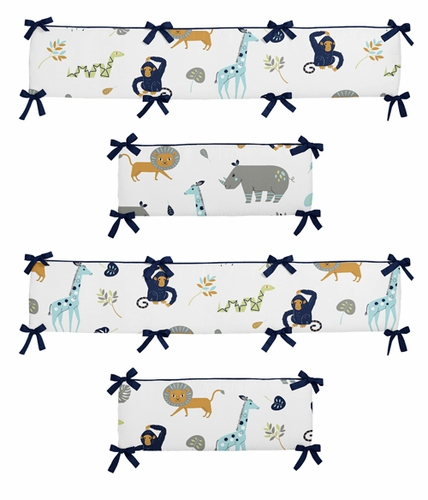 Turquoise and Navy Blue Safari Animal Baby Crib Bumper Pad for Mod Jungle Collection by Sweet Jojo Designs - Click to enlarge