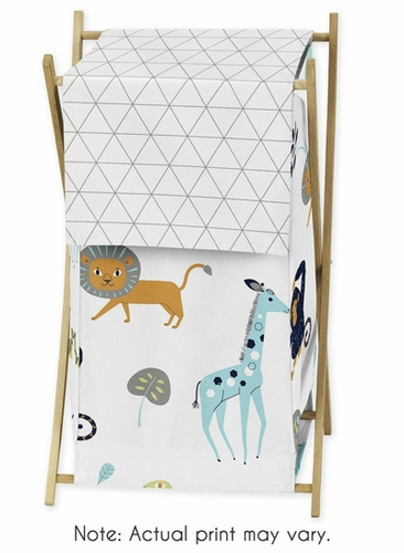 Turquoise and Navy Blue Safari Animal Baby Kid Clothes Laundry Hamper for Mod Jungle Collection by Sweet Jojo Designs - Click to enlarge
