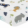 Turquoise and Navy Blue Safari Animal Baby or Toddler Fitted Crib Sheet for Mod Jungle Collection by Sweet Jojo Designs