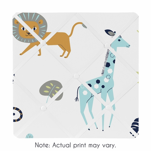 Turquoise and Navy Blue Safari Animal Fabric Memory Memo Photo Bulletin Board for Mod Jungle Collection by Sweet Jojo Designs - Click to enlarge