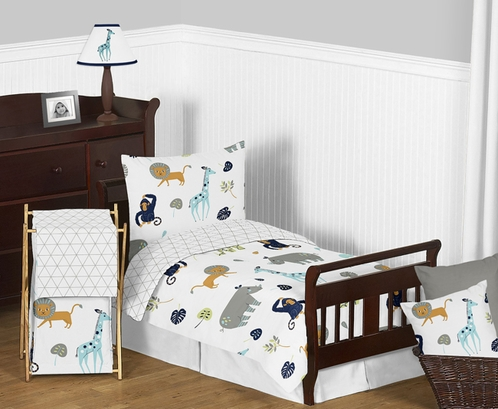 Turquoise and Navy Blue Safari Animal Mod Jungle Boy or Girl Toddler Kid Childrens Bedding Set by Sweet Jojo Designs - 5 pieces Comforter, Sham and Sheets - Click to enlarge