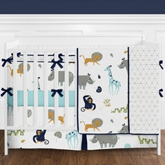 Turquoise and Navy Blue Safari Animal Mod Jungle Baby Boy or Girl Crib Bedding Set with Bumper by Sweet Jojo Designs - 9 pieces