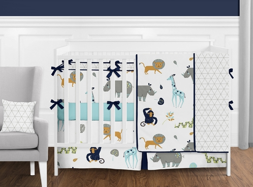 Turquoise and Navy Blue Safari Animal Mod Jungle Baby Boy or Girl Crib Bedding Set with Bumper by Sweet Jojo Designs - 9 pieces - Click to enlarge